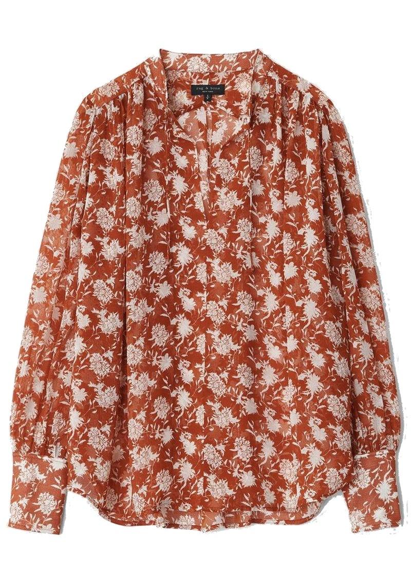 RAG & BONE Carly Floral Tie Top - Pecan main image