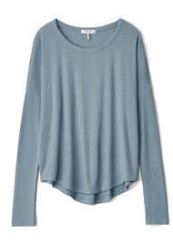 RAG & BONE The Knit Ribbed Long Sleeve T-Shirt - Grey/Blue