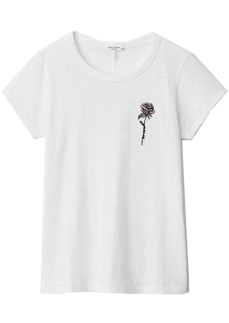 RAG & BONE Rose Script Cotton Tee - White main image