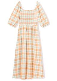 RESUME Ebony Check Cotton Dress - Copper