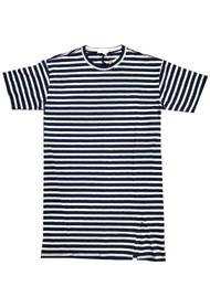 RAG & BONE The Slub Cotton T-Shirt Dress - White & Blue