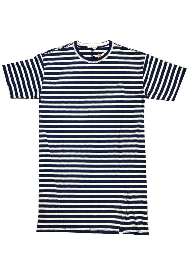 RAG & BONE The Slub Cotton T-Shirt Dress - White & Blue main image