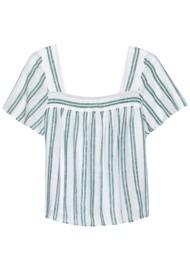 Rails Savon Linen Mix Top - Ivy Stripe