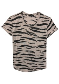Rails The Fitted Crew Cotton Tee - Beige Tiger