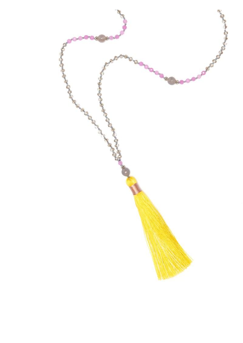 TRIBE + FABLE Single Tassel Necklace - Lemon & Lilac main image