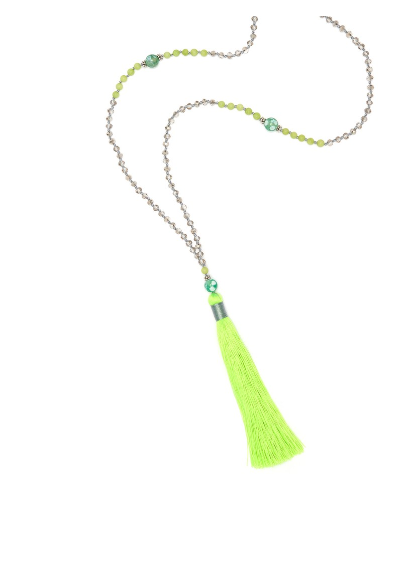 TRIBE + FABLE Single Tassel Necklace - Bright Green main image