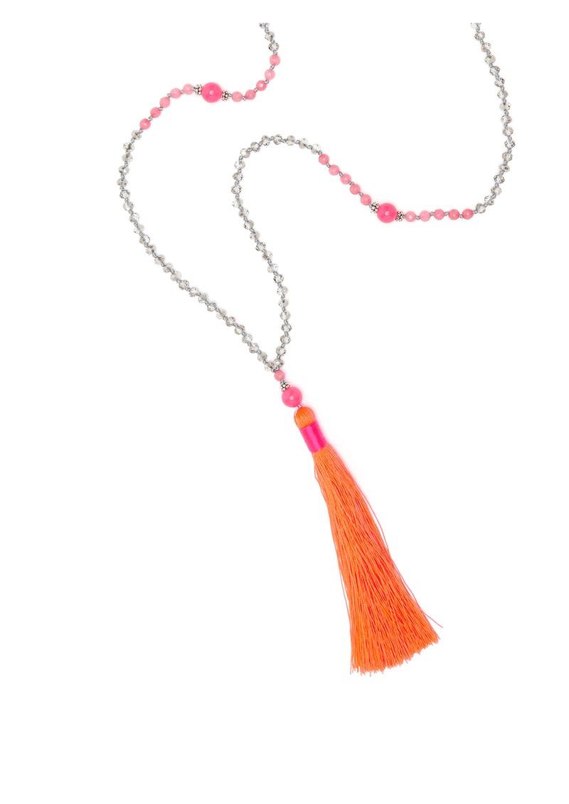 TRIBE + FABLE Single Tassel Necklace - Pink & Orange main image