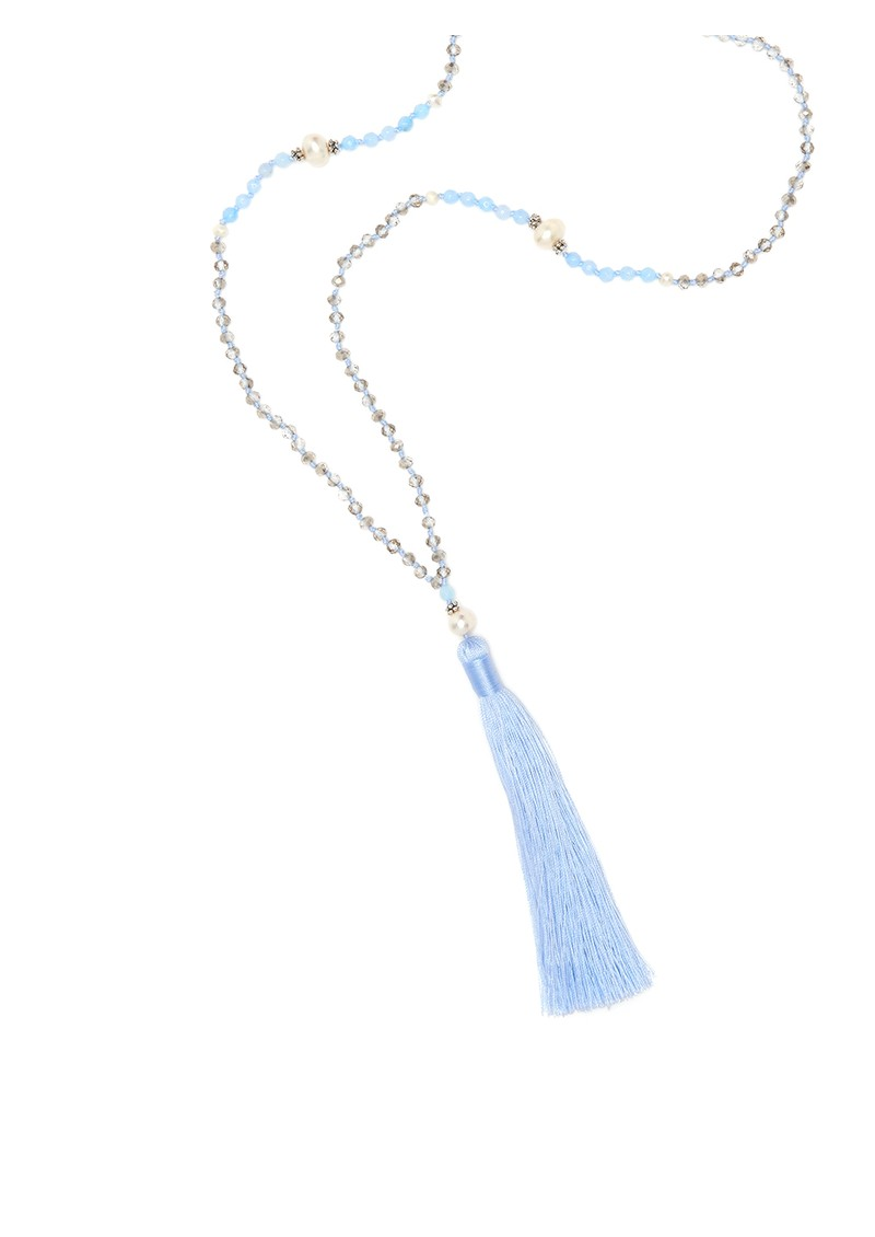 TRIBE + FABLE Single Tassel Necklace - Baby Blue main image