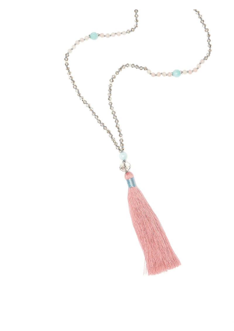 TRIBE + FABLE Single Tassel Necklace - Blue & Rose main image