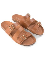 SHOE THE BEAR Cara Leather Slip In Sandals - Tan