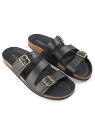 SHOE THE BEAR Cara Leather Slip In Sandals - Black