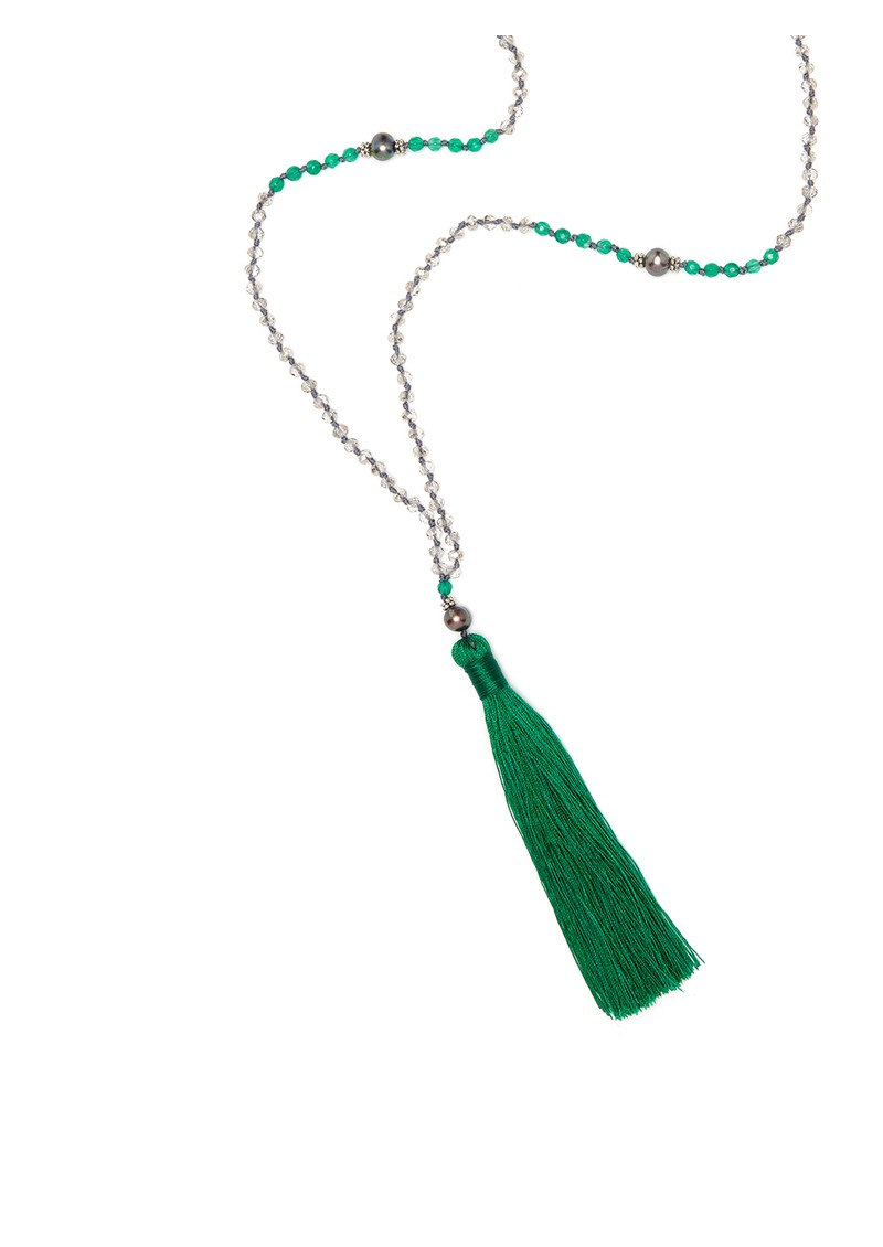 TRIBE + FABLE Single Tassel Necklace - Emerald & Agate main image