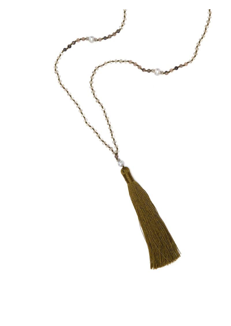 TRIBE + FABLE Single Tassel Necklace - Khaki & Grey main image
