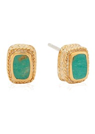 ANNA BECK Turquoise Cushion Stud Earrings - Gold
