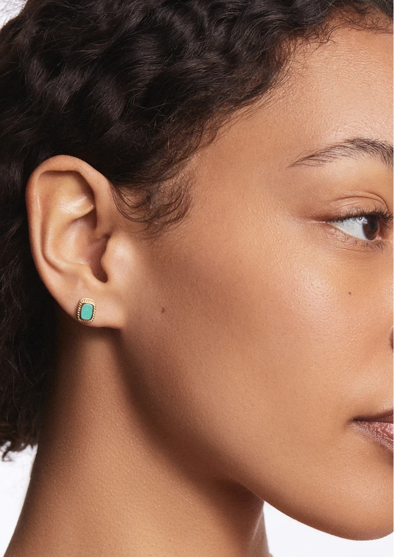 ANNA BECK Turquoise Cushion Stud Earrings - Gold main image