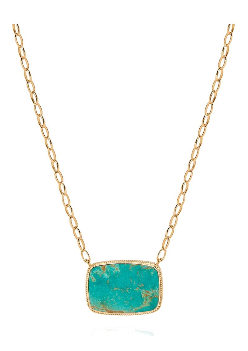 ANNA BECK Large Turquoise Cushion Necklace - Gold main image