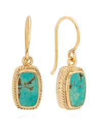 ANNA BECK Turquoise Cushion Drop Earrings - Gold