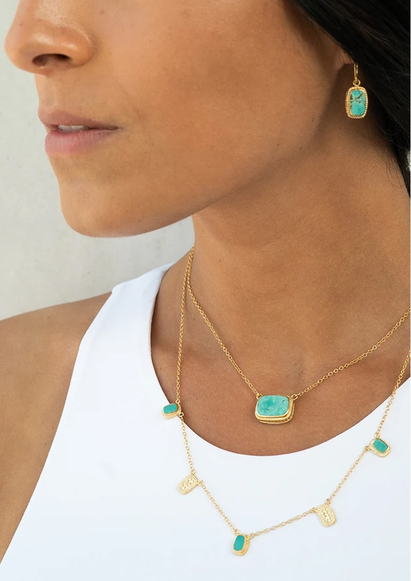 ANNA BECK Turquoise Cushion Drop Earrings - Gold main image