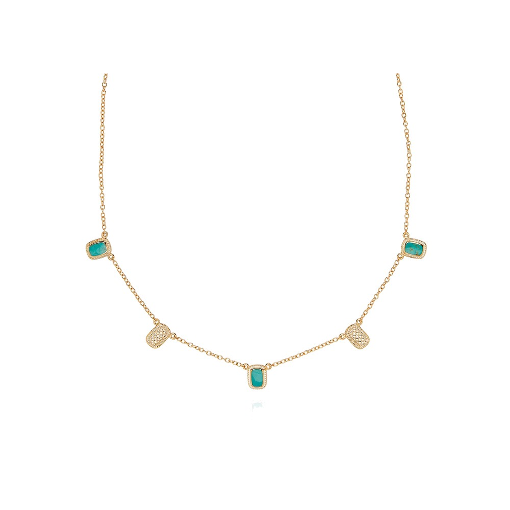Turquoise Cushion Collar Necklace - Gold