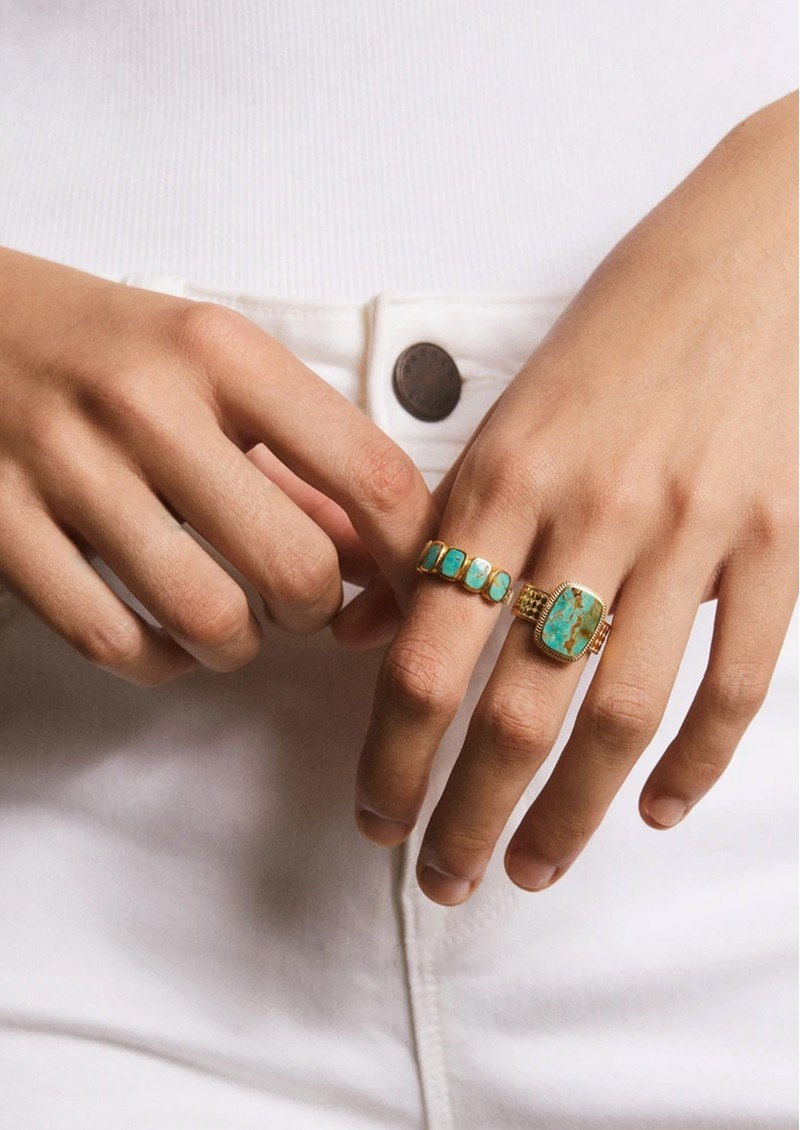 ANNA BECK Turquoise Multi Cushion Ring - Gold  main image