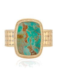 ANNA BECK Medium Turquoise Cushion Ring - Gold