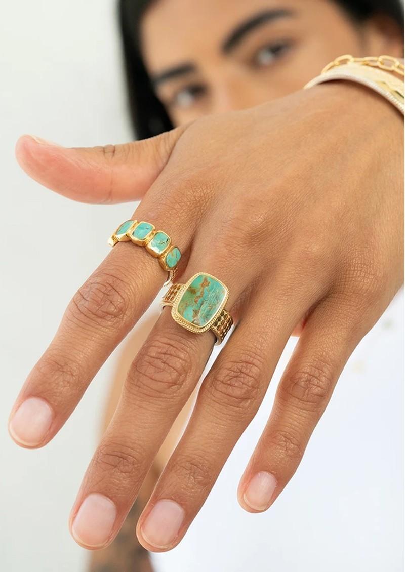 ANNA BECK Medium Turquoise Cushion Ring - Gold main image