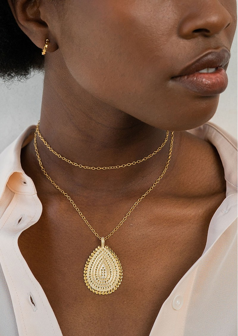 ANNA BECK Large Scalloped Teardrop Necklace - Gold main image