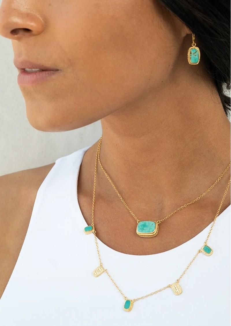 ANNA BECK Turquoise Medium Cushion Necklace - Gold main image