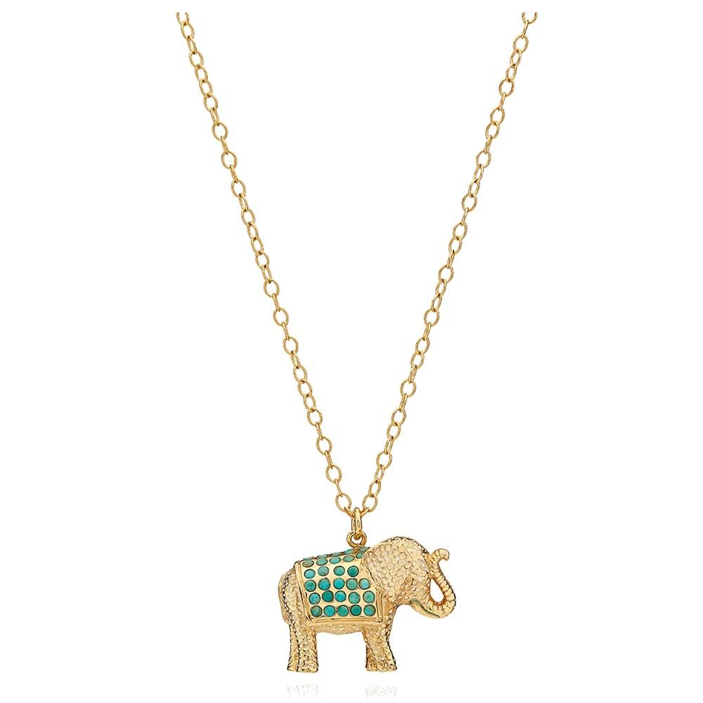 Turquoise Pav © Elephant Charity Necklace - Gold