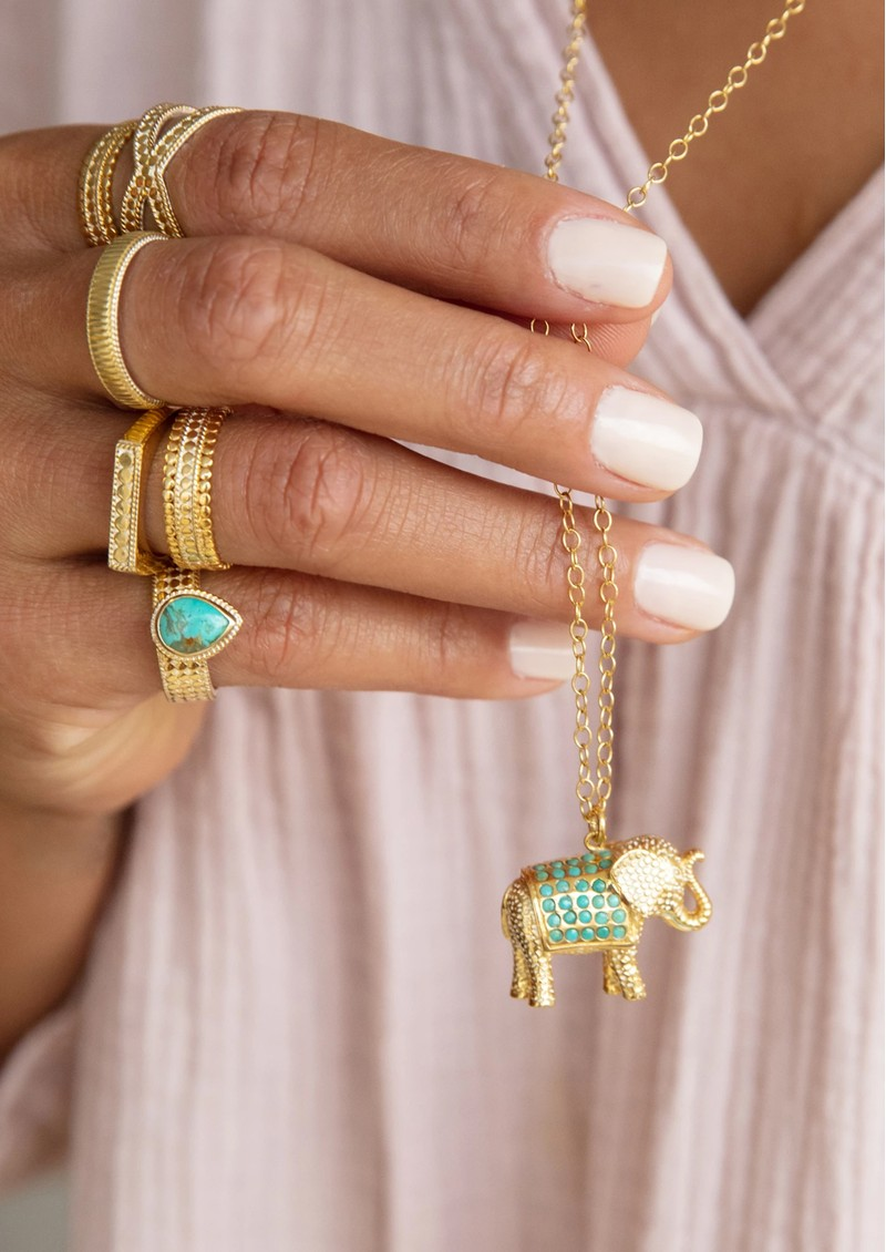 ANNA BECK Turquoise Pavé Elephant Charity Necklace - Gold main image