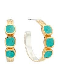 ANNA BECK Turquoise Multi-Stone Hoop Earrings - Gold