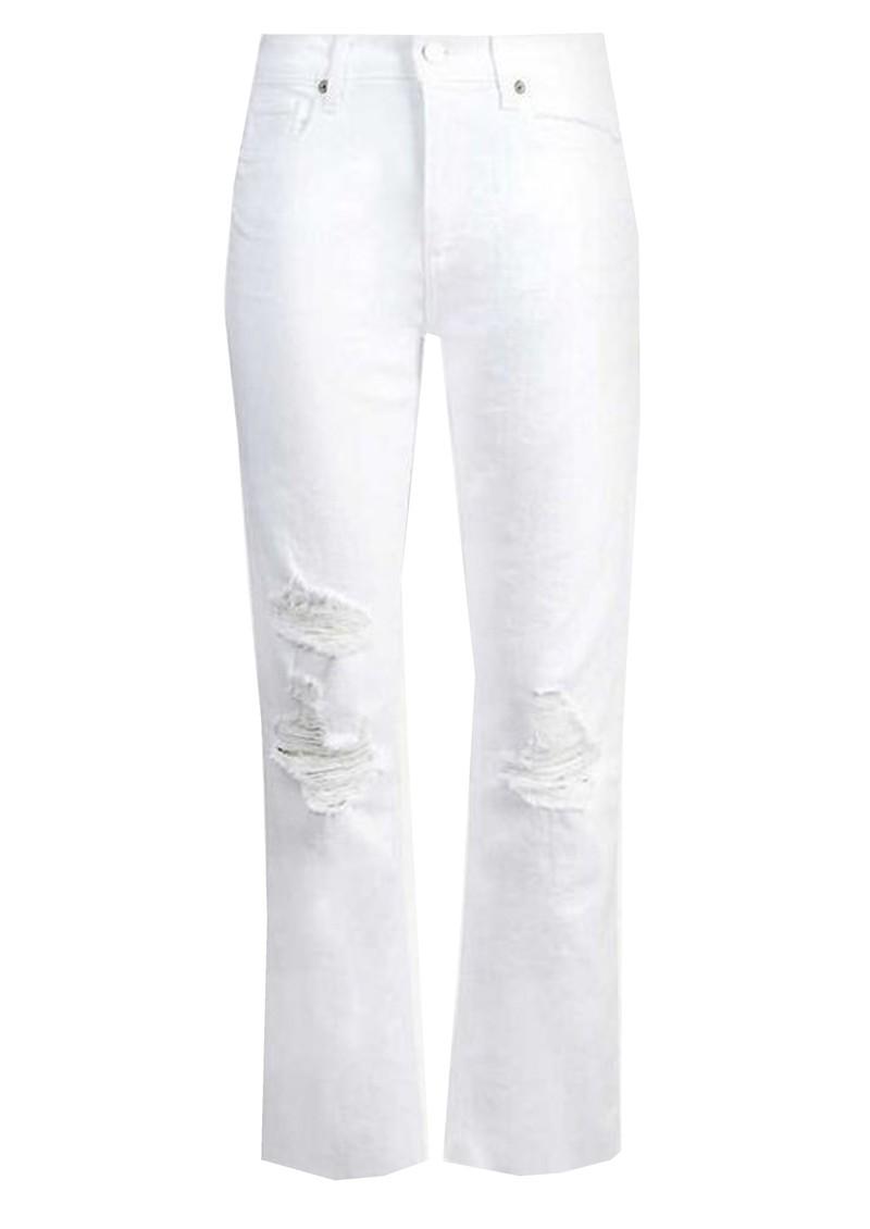 Paige Denim Noella High Rise Distressed Straight Leg Jeans - Brilliant White main image