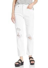 Paige Denim Noella High Rise Distressed Straight Leg Jeans - Brilliant White