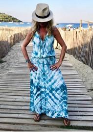 TRIBE + FABLE Wave Tie Dye Maxi Dress - Ocean Blue