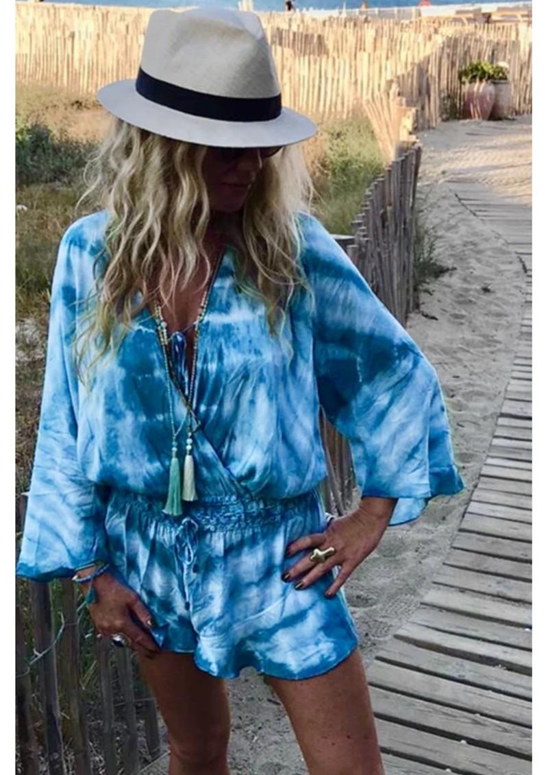 TRIBE + FABLE Wave Tie Dye Playsuit - Ocean Blue main image
