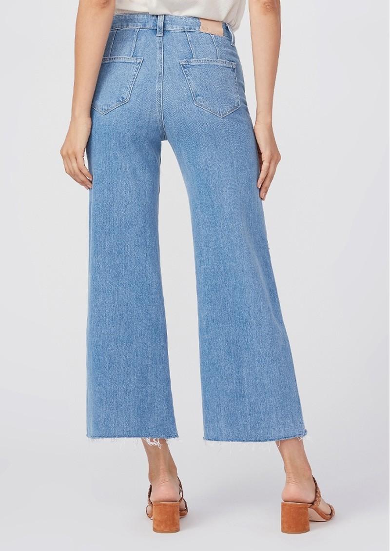 Paige Denim Anessa High Rise Cropped Wide Leg Raw Hem Jeans - Kara main image
