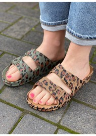 CACATOES Amazonia Leopard Slider Sandals - Camel