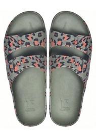 CACATOES Amazonia Leopard Slider Sandals - Dark Khaki