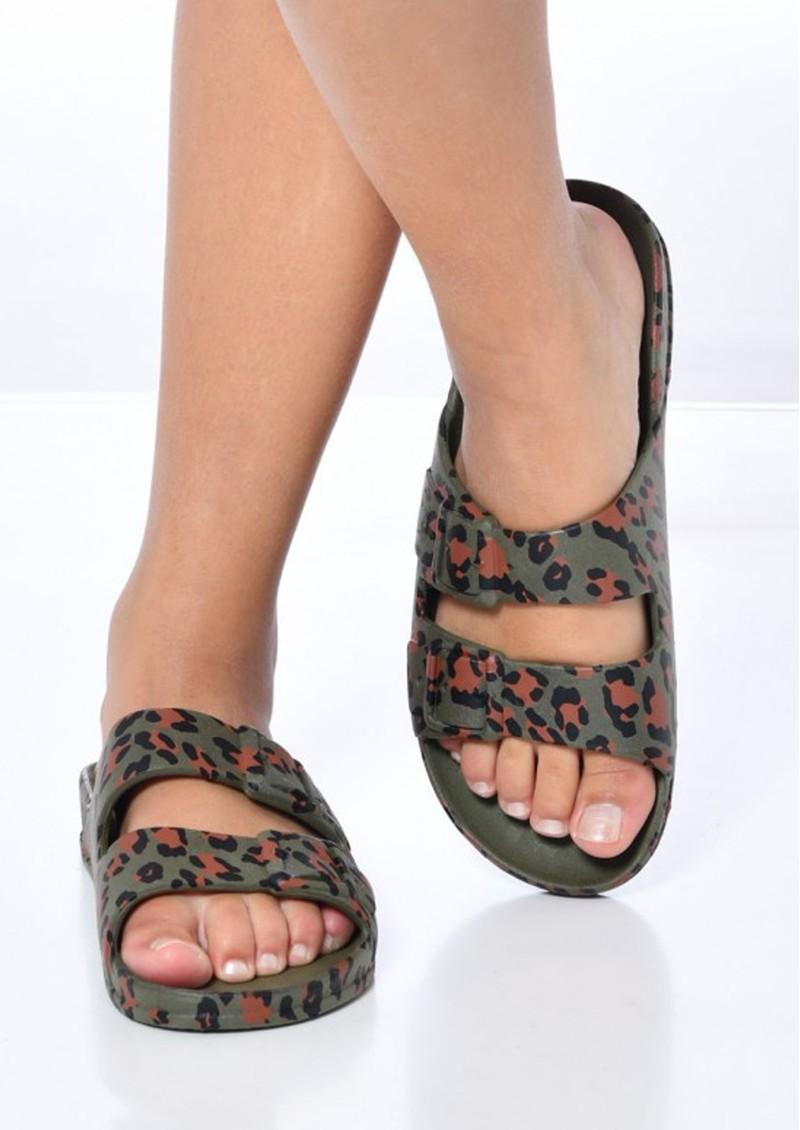 CACATOES Amazonia Leopard Slider Sandals - Dark Khaki main image