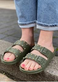 CACATOES Florianopolis Studded Sandals - Dark Khaki