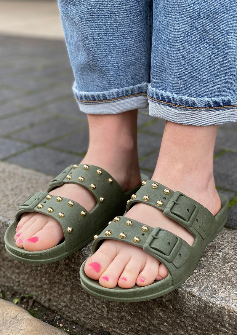 CACATOES Florianopolis Studded Sandals - Dark Khaki main image
