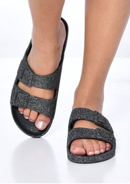 CACATOES Trancoso Glitter Slider Sandals - Grey