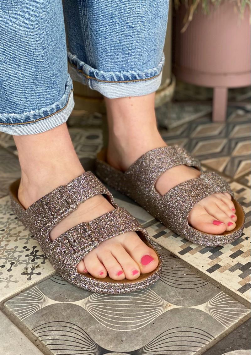 CACATOES Trancoso Glitter Slider Sandals - Camel main image
