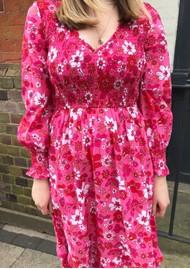 PINK CITY PRINTS Isabelle V Neck Organic Cotton Dress - Strawberry