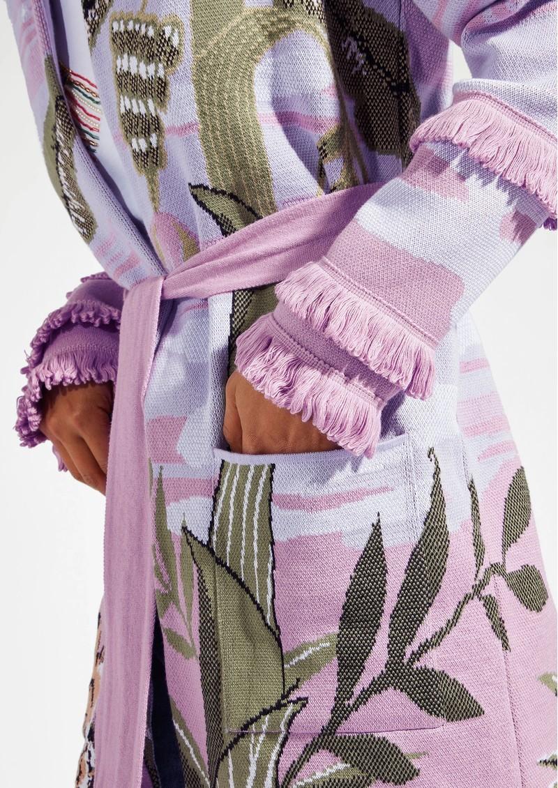 HAYLEY MENZIES Drinking Tiger Cotton Jacquard Cardigan - Lilac main image