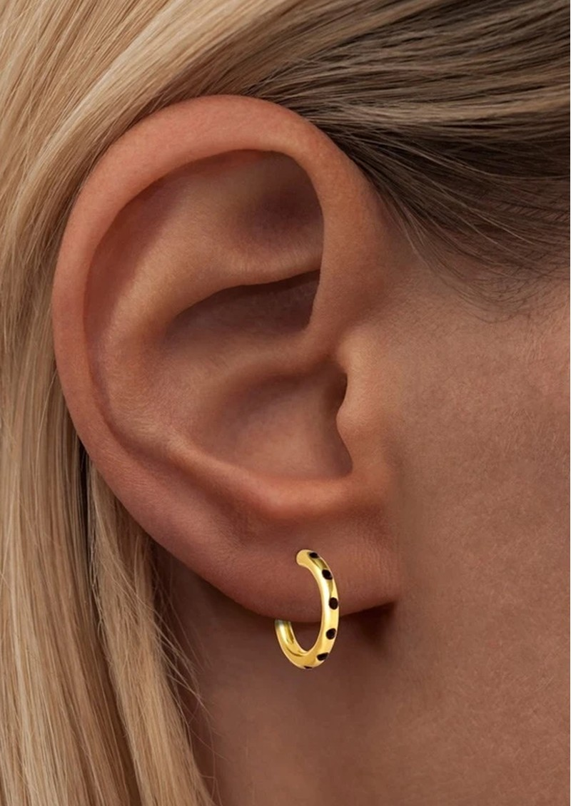 LULU COPENHAGEN Omg Hoop Earrings - Gold & Black main image