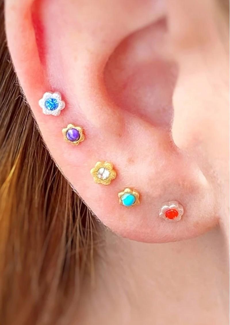 LULU COPENHAGEN Blomst Stud Earring - Turquoise main image