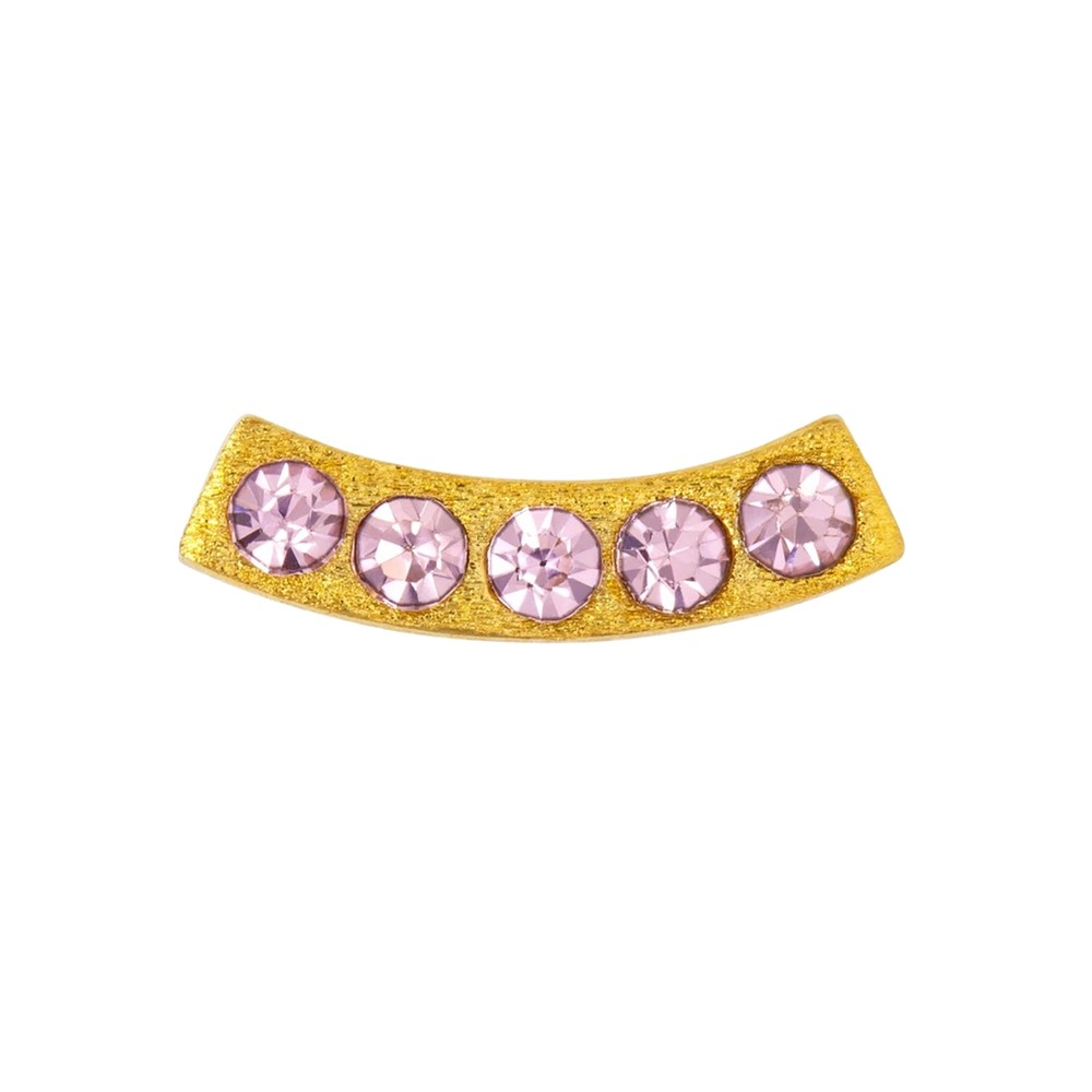 Happy Crystal Stud Earring - Gold & Rose