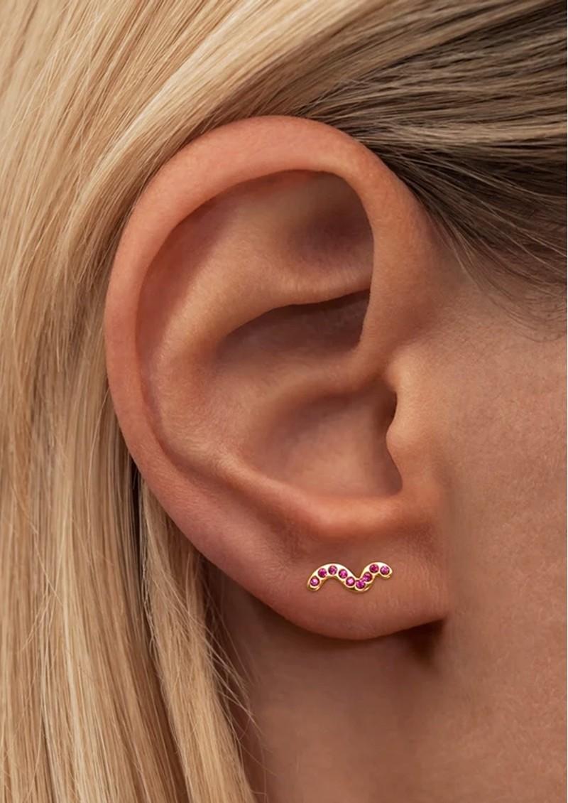 LULU COPENHAGEN Snaky Crystal Earring - Gold & Pink main image