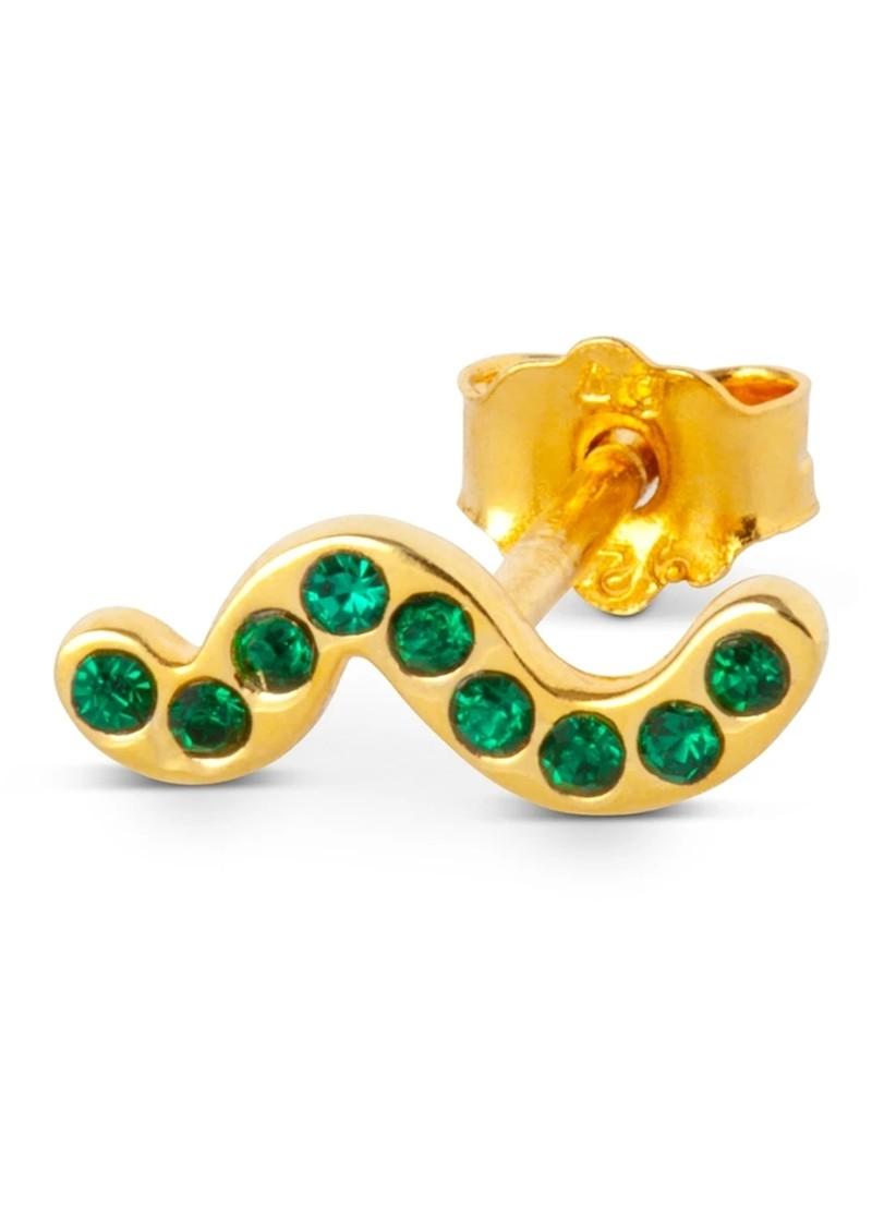 LULU COPENHAGEN Snaky Crystal Earring - Gold & Green main image